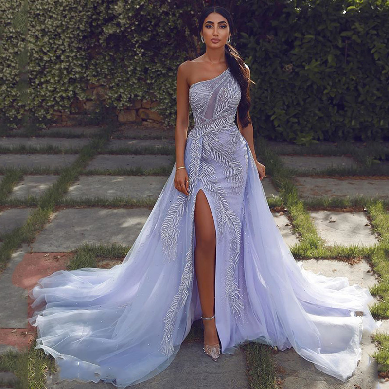 Sevintage Sexy Mermaid One Shoulder Evening Dresses Lace Beaded SplitLong Prom Gowns With Removable Tail Customize Abendkleider