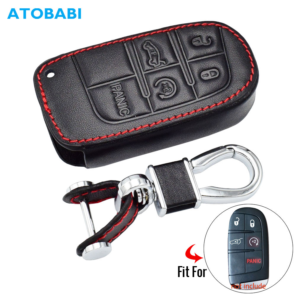 3 Buttons 3D Leather Car Key Cover Case Protector Holder for Chrysler Dodge Jeep
