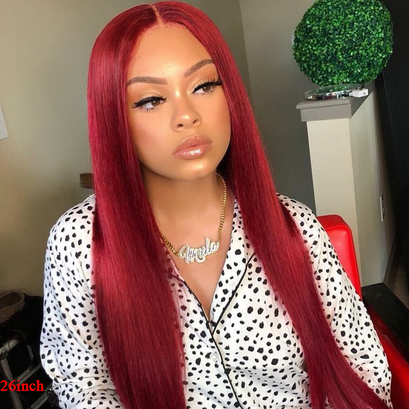 99J/Burgundy 13x4 Lace Front Human Hair Wigs Brazilian Straight Remy Pre Plucked Hairline Lace Wig For Women 150% Density SOKU
