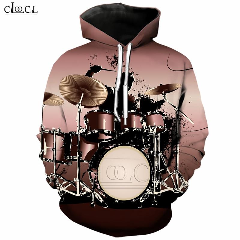 Men Hoodies Casual Drums Musical Instruments 3D Print Pullover Sweatshirts Tops