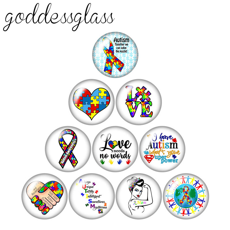 Autism Awareness Puzzle Ribbon Medical LOGO 10pcs 12mm/18mm/20mm/25mm Round photo glass cabochon demo flat back Making findings(China)