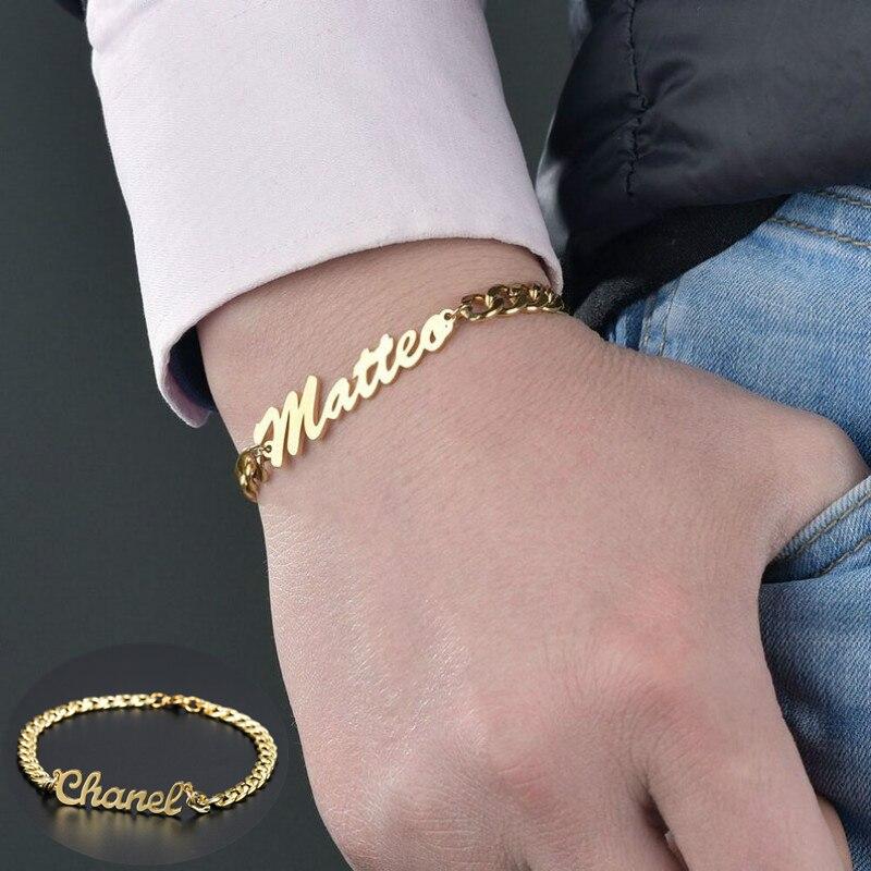 Именной браслет на заказ, 3 мм, кубинская цепь, браслет из нержавеющей стали, не выцветает, именной браслет для женщин и мужчин, персонализированные ювелирные изделия|Индивидуальные Браслеты| | АлиЭкспресс