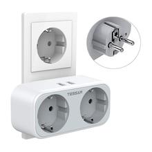 TESSAN Travel Power Streifen EU Steckdose mit 2 USB Ports 2 Outlets EU Stecker Überlast Schutz 4-in-1 Steckdose