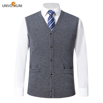 UNIVOS KUNI 2019  Men's  Sweater Fashion Slim Spring And Autumn New Arrive Vest Solid Color Casual High Quality 9069