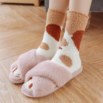 الشتاء الدافئ القط باو الجوارب للنساء الفتيات النوم الجوارب المنزل الجوارب الطابق الجوارب السميكة 1