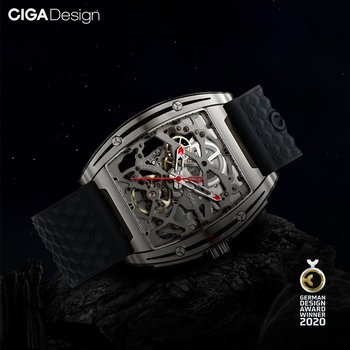 CIGA DESIGN Watch Titanium Case Automatic Mechanical Wristwatch Sapphire Crystal Two Straps Silicone/Leather Timepiece