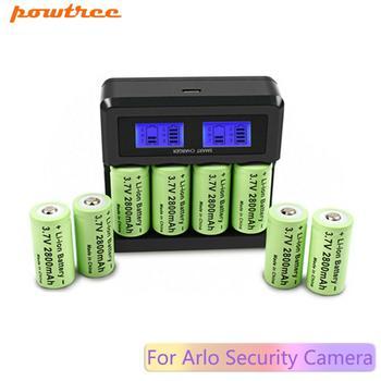 Powtree 8 #215 2800 mAh 16340 CR123A akumulator + ładowarka LCD do Arlo kamera ochrony tanie i dobre opinie Li-ion Baterie Tylko Pakiet 1
