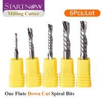 Start now 6 pz/lotto giù taglio fresa singolo flauto punte a spirale 3.175/4/6 SHK carburo di tungsteno CNC strumento Router punte per incisione