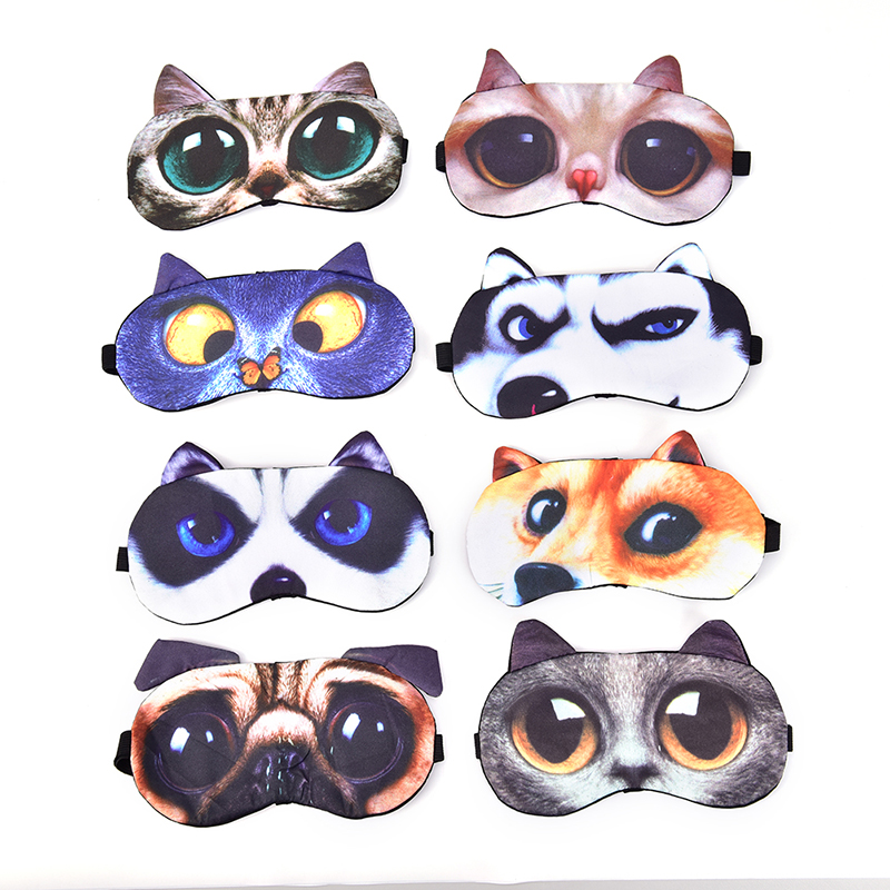 Cute Cat Dog Sleep Mask Eyeshade Cover Eye Mask Natural Sleeping Soft Blindfold Eyepatch Sleep Eyeshade Eye Cover Women Men