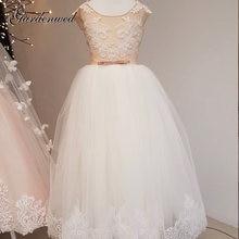 Платье цветочное для девочек без рукавов трапециевидное с кружевной