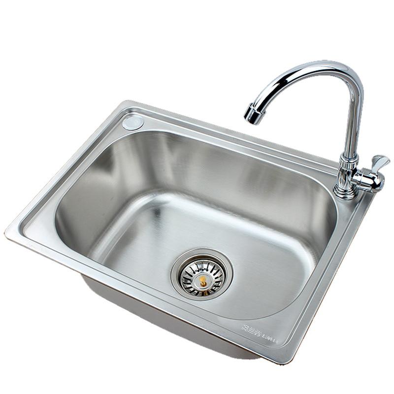Permalink to Kitchen sink Handmade stainless steel single sinks vegetable washing basin  kitchen sink wash dish vegetable