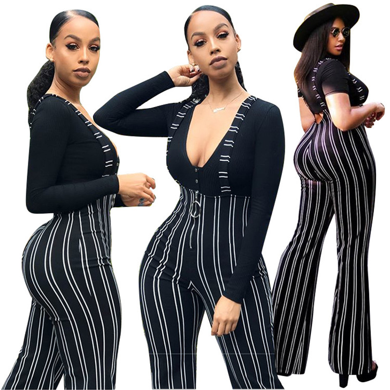 Women Clubwear Pants Playsuit Bodycon Party Jumpsuit Suspender Flared Trousers Jumpsuit Romper Long Pants Party Trousers