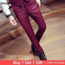 PAULKONTE 2019 New Solid Color Slim Fit Trousers High Quality Fashion Male Korean Version Mens Pants Streetwear