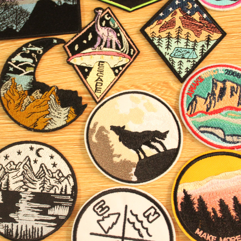 DIY Mountain Trave Embroidered Patches For Clothing Applique Iron on Patches On Clothes Space Patch Traveler Badges Stripes