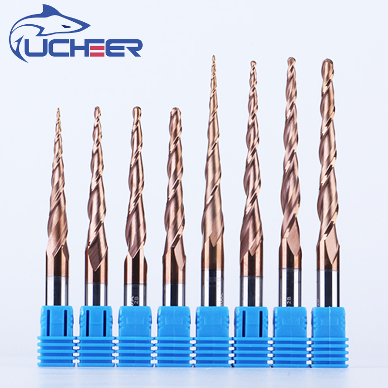 UCHEER Discount 1set 6mm Taper Ball Nose End Mill Tungsten Solid Carbide Coated Cnc Milling Cutter Woodworking Engraving Bit