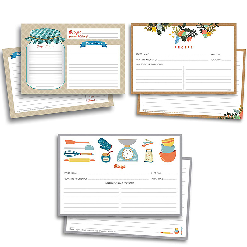 50sheet Kitchen Cooking Recipe Cards Note Double Sided Cards 4x5.6 Inch Cardstock Paper Stationery Home Kitchen Invitation Cards