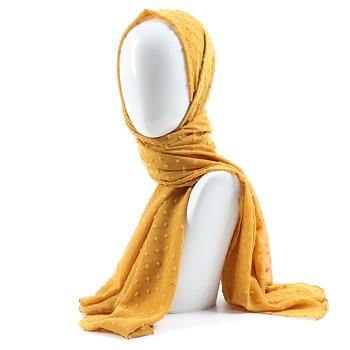 One piece solid plain dots hijab scarf islam shawl head wraps soft long muslim plumetis