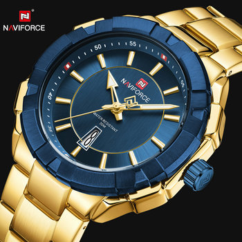 NAVIFORCE 9176 Army Sports Mens Watches Simple Quartz Watch Men Golden with box