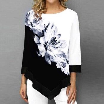 2020 New Autumn Arrival Women's Fashion Round Neck Shirt Long-sleeved Shirt Women Print Irregular Hem Tunic Casual Tops grey flap over detail off shoulder irregular hem t shirt