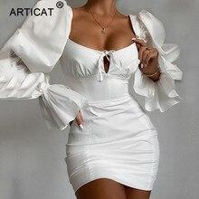 Articat New Vintage Square Collar Dress Women Flare Sleeve High Waist Slim Dresses Leisure Sexy Vestidos Summer Styles