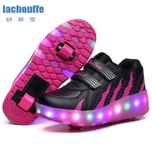 바퀴와 함께 빛나는 스 니 커 즈 Led 조명 신발 여성 롤러 LED 조명 신발 어린이 스포츠 소년 빛나는 운동 화 EU 27 41