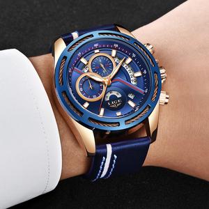 Image 5 - חדש ליגע Mens שעונים למעלה מותג יוקרה כחול צבאי ספורט שעון גברים עור עמיד למים שעון קוורץ Wishwatch Relogio Masculino