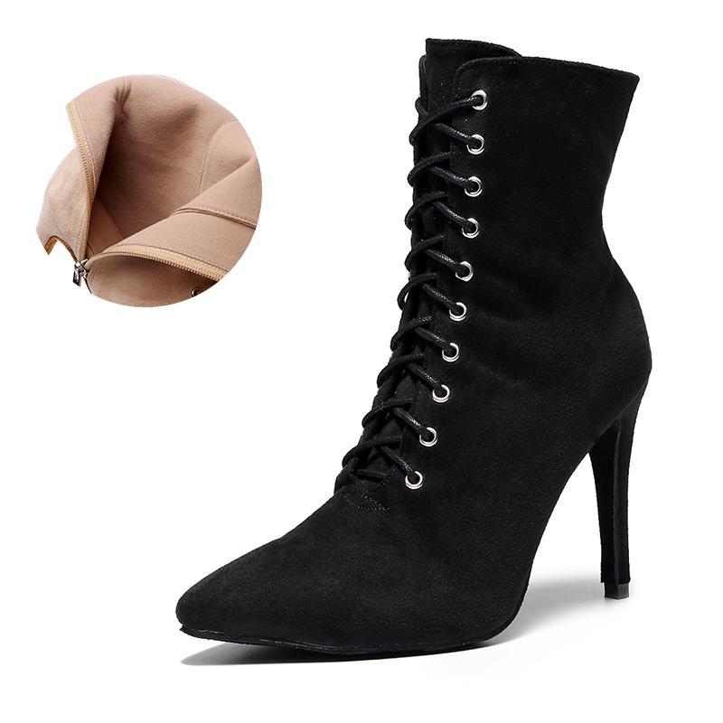 Woman Closed Toe Latin Dance Shoes Black Beige Lace Up Ballroom Dance Sandals For Women Soft Bottom Bachata Salsa Dance Boots