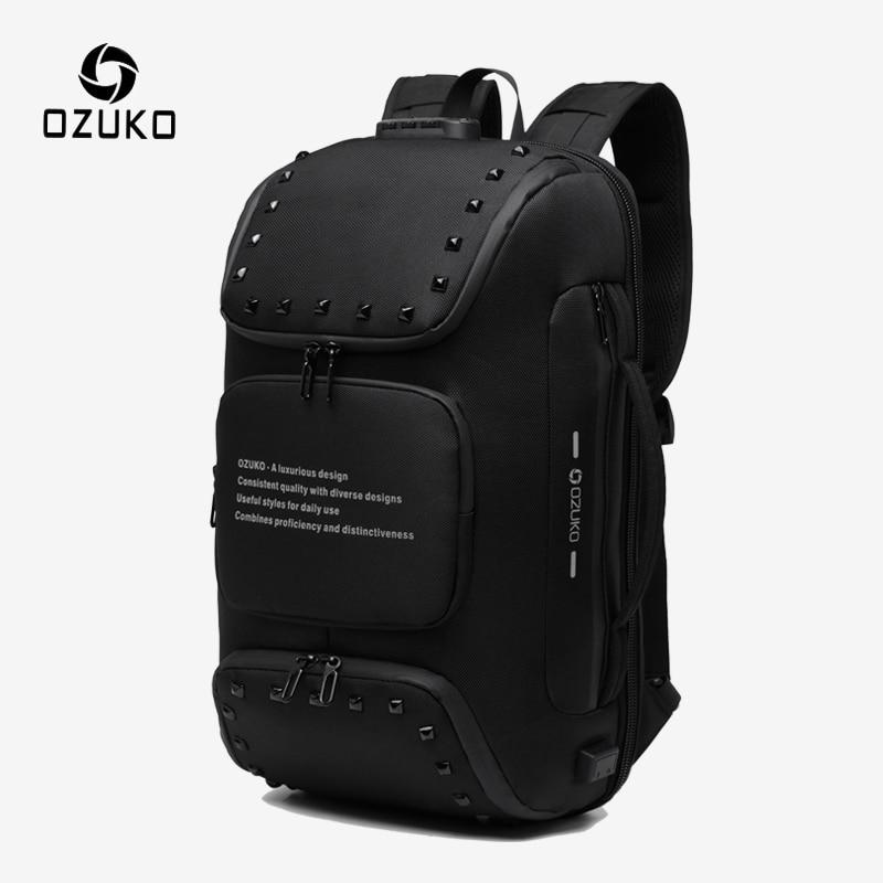 OZUKO Multifunction Anti-theft Backpack For Men Fashion Rivet Teenager Schoolbag Male USB Charge Waterproof Backpacks Travel Bag