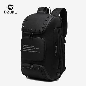 OZUKO Multifunction Anti-theft Backpack for Men Fashion Rivet Teenager Schoolbag Male USB Charge Waterproof Backpacks Travel Bag
