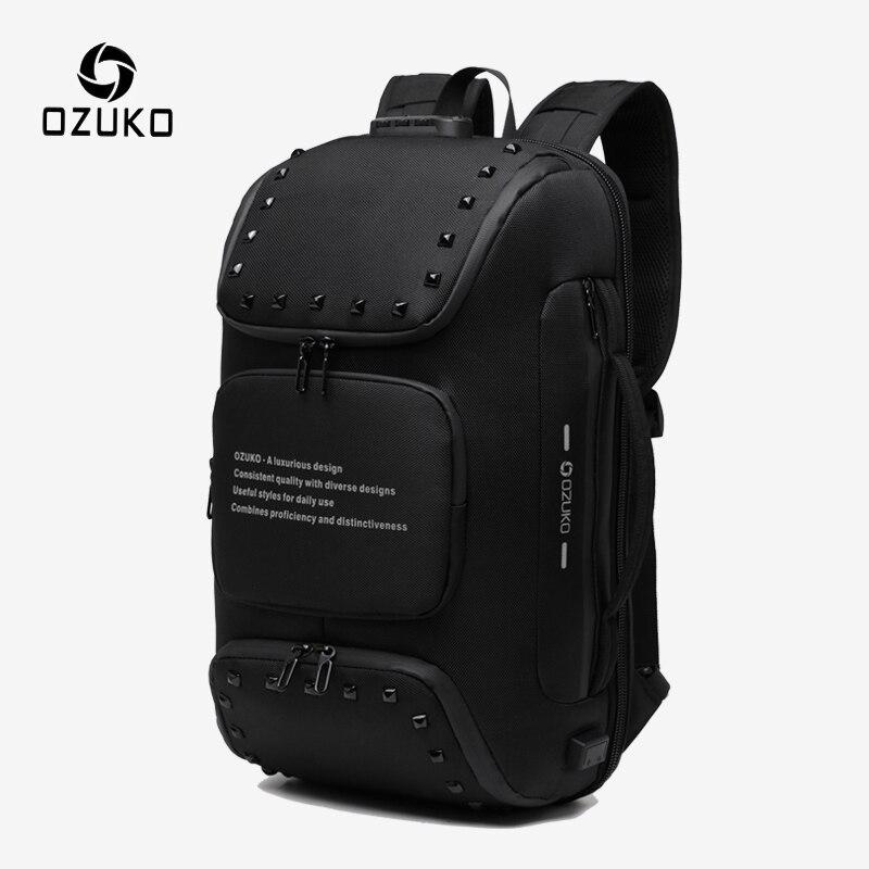 Ozuko multifunction anti-roubo mochila para homens moda rebite adolescente mochila masculino carga usb à prova dwaterproof água mochilas saco de viagem