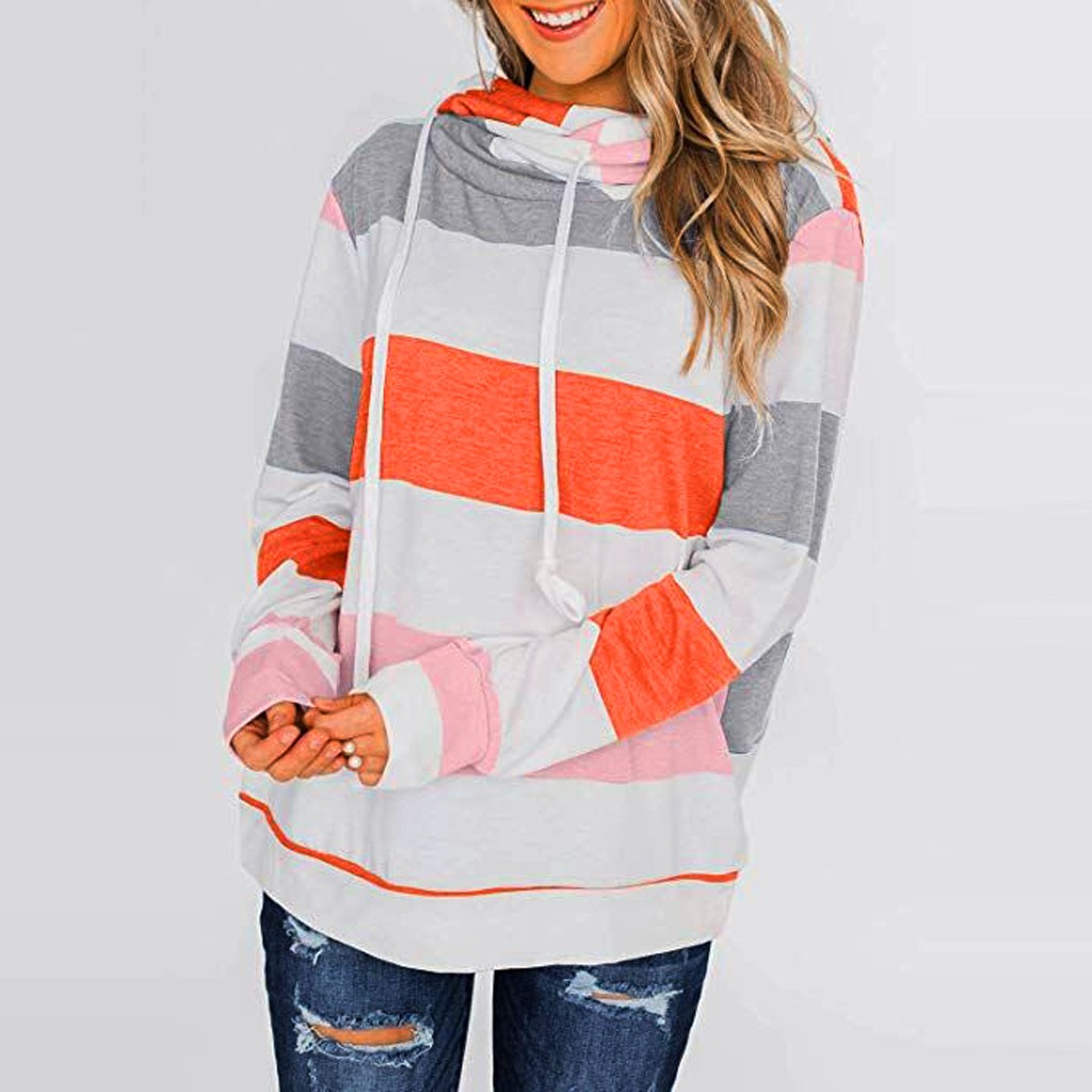 Womens Color Block Striped Sweatshirt Crewneck Long Sleeve Loose Pullover Tops#T2