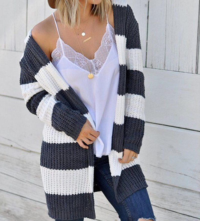 Casual Striped Autumn Cardigan 2019 Long Sleeve Women Sweater Pull Femme Black Tops Women Knitted Cardigan Sueter Mujer Invierno in Cardigans from Women 39 s Clothing