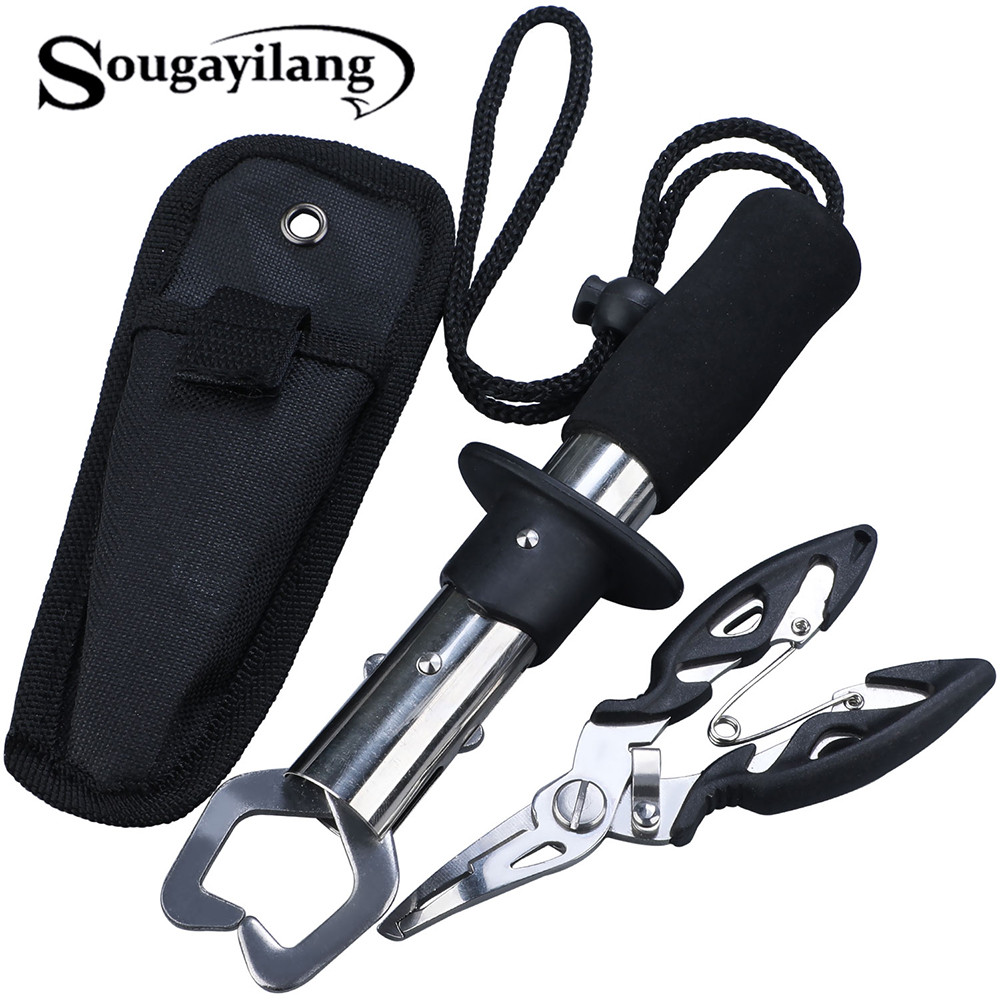 Sougayilang New Stainless Steel Fishing Grip Set Control + Multifunction Outdoor Fishing Pliers Fish Tackle Fish Lip Gripper Set
