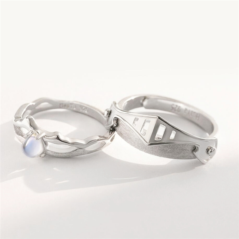 Sole Memory Sweet Romance Couple Gift Knight Guardian Princess 925 Sterling Silver Female Resizable Opening Rings SRI561