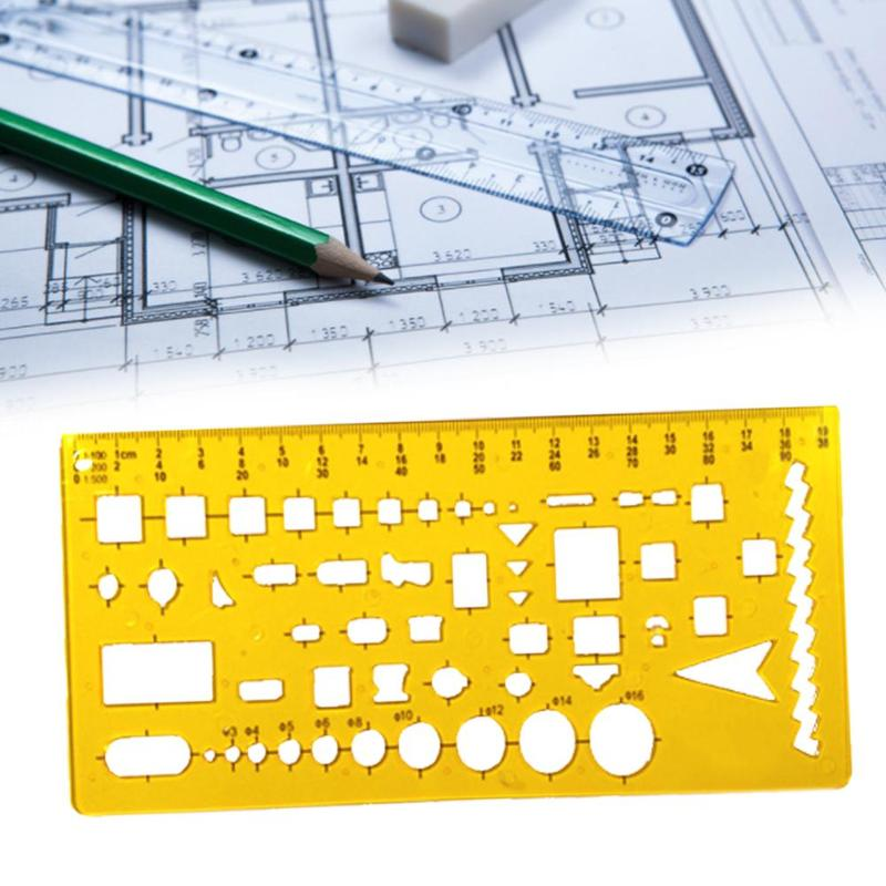 1pc K Resin Template Building Round Plastic Ruler Stencil Drawing Measuring Tool Foldable Geometric Ruler Stationery Supplies