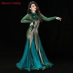 Sexy Bauchtanz Ägyptischer Kaftan Muster Irak Robe Baladi Kostüme Cane Dance Orientalischen Kleidung Lange Hülse Handgemachte Stickerei