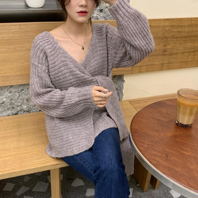 SuperAen Fashion Sweater Coat Female Korean Style New 19 Autumn and Winter Wild Ladies Sweaters Solid Color Women Knit Tops 10