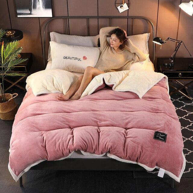 1Pcs Twin/König größe verdickung warme Bettdecke Abdeckung hause Luxus Gedruckt Flanell Bei Bei Samt Winter Doppel konfrontiert bettbezug
