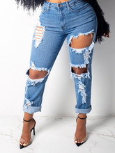 New Sexy Mid Waist boyfriend jeans for women Vintage Denim Pants Hole Destroyed Pencil Pants Casual Trousers summer Ripped Jeans hancuinu casual women brand vintage mid waist skinny denim jeans slim ripped pencil jeans hole pants female sexy girls trousers