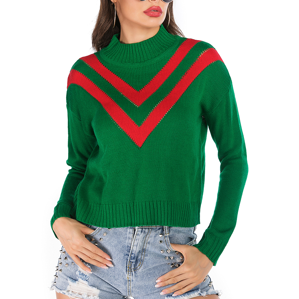 Fashion Women Casual Pullover Sweaters 2020 Casual Autumn Middle Collar Female Loose Sueter Feminino Long Sleeve Knitted Sweater