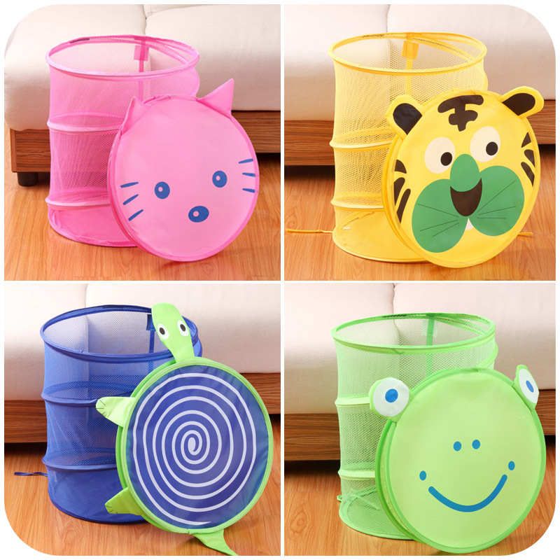 Cartoon Folding Pop-Up Laundry Hampers Storage Barrel With Cover Kid Standing Cloth Storage Toy Container Organization Finishing
