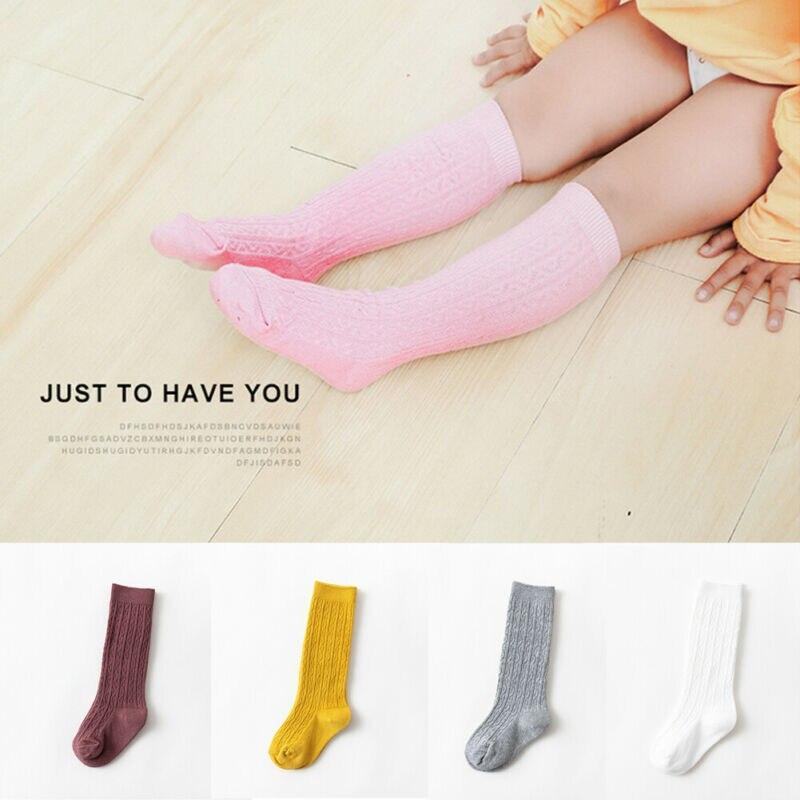Adorable Baby Girls Cotton Knee Socks Kids Children  Bowknot Striped Leg Warmers