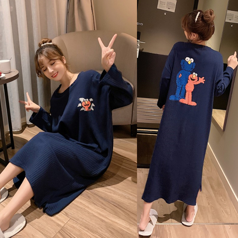 Nightgown Women's Long Sleeve Autumn & Winter Blue Sesame M -Xxl Sunken Stripe Cloth Series 3-