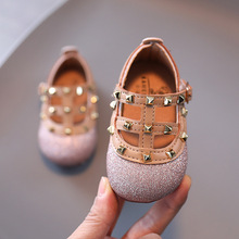 Spring Autumn New Baby Girl Princess Shoes Fashion Rivet Bling Toddler Shoes Children's Flats Mary Jane Shoes Size 21-25