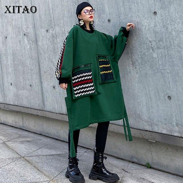 Xitao plus size maré retalhos xadrez moletom roupas femininas 2019 moda oversized pulôver camisola de manga completa topo zll4527