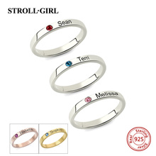 Strollgirl 100% 925 Sterling Silver Engraved Mother's Stackable Name Ring With Birthstone Personalized Sterling Silver Jewelry personalized birthstone engraved name ring gold color family stackable ring for mother