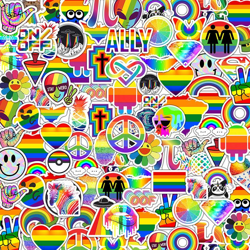 50Pcs Tide Brand Rainbow Color Graffiti Series Stickers For Suitcase Luggage Motorcycle Laptop Skateboard Phone Stickers F3