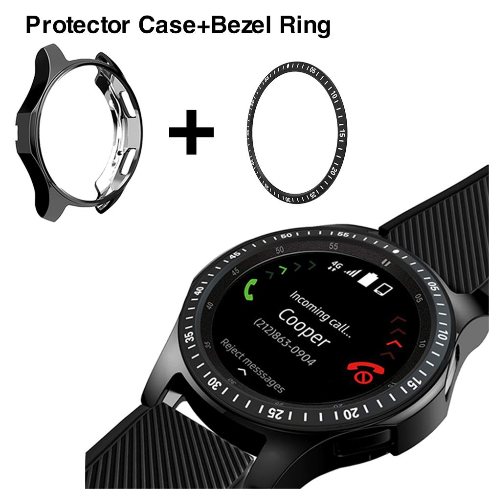 2 Pack For Samsung Galaxy Watch 46mm 42mm Gear S3 Bezel Ring Adhesive Cover Anti Scratch Collision Bezel Loop + Protector Case