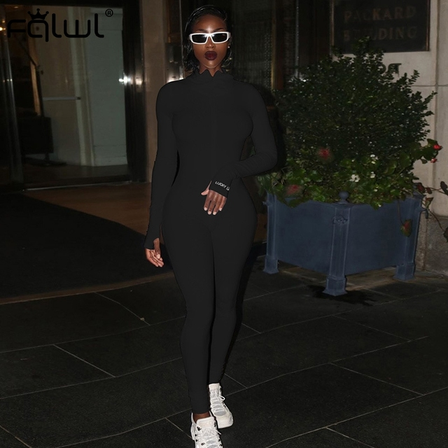 FQLWL Streetwear White Black Knitted Sexy Bodycon Jumpsuit Women Overalls 2019 Long Sleeve Skinny Rompers Womens Jumpsuit Female 4