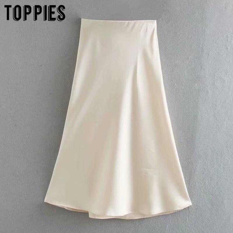 2020 White Satin Midi Skirts High Waist Pink A-line Skirts Summer Womens Falas Streetwear